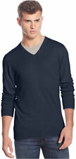 American Rag Solid V-Neck Night Navy Sweater in Large