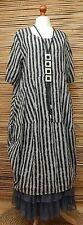 LAGENLOOK LINEN BEAUTIFUL STRIPED BALLOON LONG DRESS*GREY/BLACK*BUST UP TO 48""