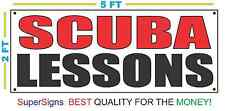 SCUBA LESSONS Banner Sign NEW Larger Size 2X5 Red & Black