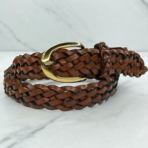 Brown Vintage Braided Woven Leather Belt Size XS