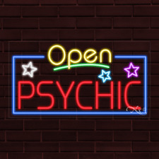 """Brand New """"Open Psychic"""" w/Border 37x20X1 Inch Led Flex Indoor Sign 35561"""