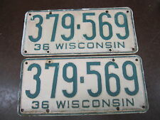 Wisconsin 1936 Pair Vintage License Plate Garage Old Car Auto Tags 1930s HOT ROD