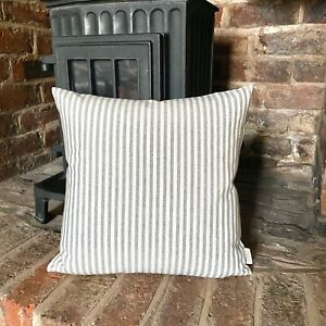 1065. GREY STRIPE LINEN LOOK 100% Cotton Cushion Cover, Various sizes