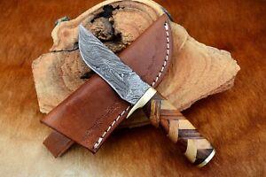 MH KNIVES CUSTOM HANDMADE DAMASCUS STEEL MIX WOOD HUNTING/SKINNER KNIFE MH-307