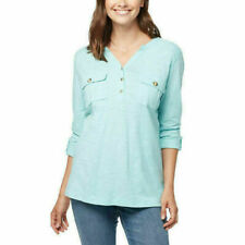 NEW Gloria Vanderbilt Women's Penelope Knit Shirt Top Green S FREE FAST SHIP