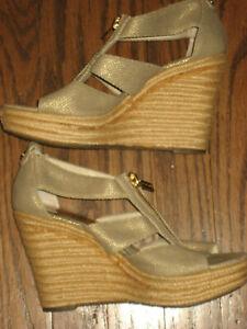 womens wedge sandals Michael Kors espadrille damita beige 7 platform Berkley zip
