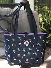 KATE SPADE KACI SMALL TOTE SHOULDER BAG NAVY BLUE WILDFLOWER DITSY LEATHER $299