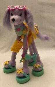 BARBIE DOG Beach Puppy Purple 2001 Wire Bendable Legs Swimsuit Sunglasses RARE