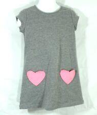 Cat & Jack Toddler Dress Size 4T Gray Pink Heart Pockets Short Sleeves Summer