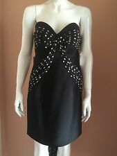 Moschino Couture Black Strapless Boned Corset Bustier Cocktail Dress size 10