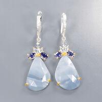 Blue Opal Earrings Silver 925 Sterling Handmade Jewelry  /E41011
