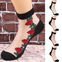 Crystal Sock Sheer Thin Transparent Ice Silk Black Lace Ankle Flower Socks Women