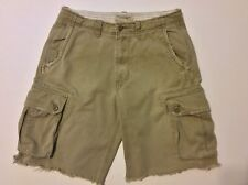 American Eagle Mens Cargo Shorts Size 30 Khaki Factory Cut Off Distressed