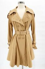 BEBE Womens Classic Camel Tan Swing Belted Trench Coat Lined Double Breasted - S