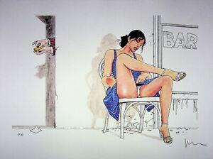 Milo Manara: La Dress Blue - Lithograph Erotic Signed, Proof' Artist