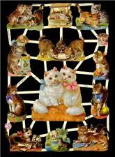 2 SHEETS CAT KITTEN KITTY DIE CUT SCRAP BOOK PAPERS VICTORIAN SCRAPS