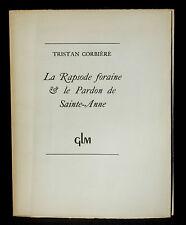 Tristan Corbière La Rapsode foraine et Le Pardon de Sainte-Anne GLM 1946 N° 175