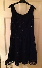 TOPSHOP black floral lace sequin christmas cut out skater LBD dress UK 12