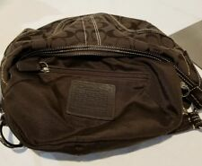 Coach Purse Brown Signature Canvas Leather Strap E06K-10073 Small Hobo