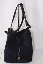 Lauren Ralph Lauren Women Suede Navy Dryden Debby Drawstring Bag Tote Handbag