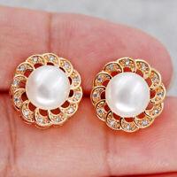 18K Gold Filled Stud Earrings Bohemian pearl Flower Topaz Zircon Women Party L8