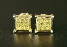 Mens/Ladies Canary On Yellow Gold Diamond Stud Earrings