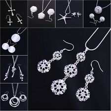 Wholesale Price Ladys 925Silver Jewelry Sets Silver Earrings Ear Drops Necklace