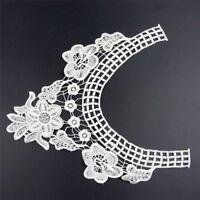 2Pcs Fabric Flowral Collar Sewing Lace Trim Party Dress Costume Neck DIY Decor
