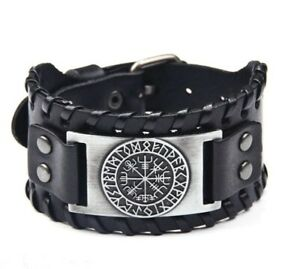 Viking Nordic Compass Bracelet  Axe Norse Leather Ax Wristband Braid Cuff  Band