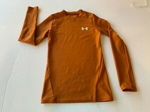 Boys Under Armour Heat Gear dark orange top size S