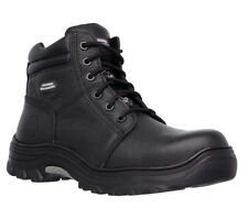SKECHERS WORK RELAXED FIT BURGIN BLK LEATHER ELECTRICAL WORK BOOTS - SIZE 8 WIDE