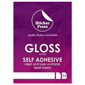 A4 Glossy White Self Adhesive Sticker Paper Waterproof Inkjet Laser Print Labels