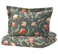 Ikea Alandsrot Twin Duvet Cover 1 Pillowcases Bed Set Dark Gray Floral New