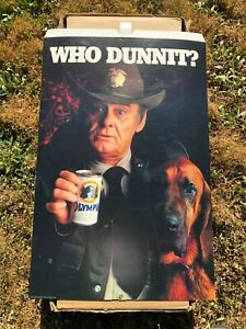 Vintage Olympia Beer WHO DUNNIT? Cardboard Display Sign Bar Store Promo Sheriff