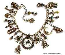 Gothic Spider Bronze Charm Bracelet Wolf & Moon, Book of Shadows, Halloween