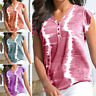 Women's Tie Dyed Short Sleeve Tops Summer V-Neck Casual Printed T-Shirts Blouse