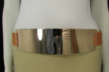 Women Gold Metal Plate Mirror Hip High Waist Fashion Belt Mocha Brown Band S M
