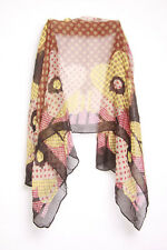 Russet Brown Ladies Polkadot Theme Colorful Floral Pattern Scarf (S3)