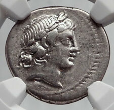 Roman Republic 82BC Rome APOLLO SATYR MARSYAS Ancient Silver Coin NGC i63421