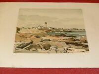 [ART XXe] ROBERT YAN - BELLE LITHOGRAPHIE ORIGINALE SIGNEE Port Phare Bretagne
