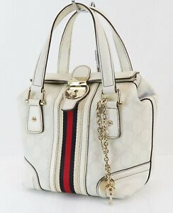Authentic GUCCI Off White GG PVC Canvas and Leather Boston Hand Bag #39311B
