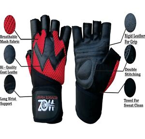 Leather Gym Weight Lifting Gloves Body Building Training Exercise Workout Gloves