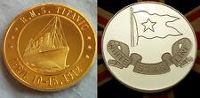RMS TITANIC COIN GOLD Commemoration Ship UK White Star Line Emblem Logo Flag UK