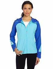 New Balance Women's Hooded Sequence Jacket, Dazzling Blue XS -  logos on front