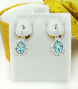 GEMSTONE  0.94 Cts AQUAMARINE & WHITE SAPPHIRE DANGLING EARRINGS .925 Silver