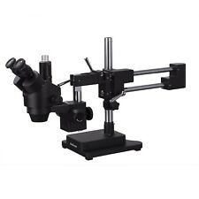 AmScope 3.5X-180X Trinocular Stereo Zoom Microscope + Double Arm Boom Stand