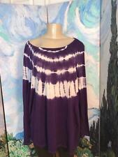 I.N.C. Plus 2x Purple Tie-Dye Sequin Round Neck Rayon Long Sleeve Tunic Top