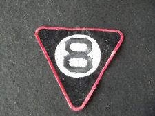 8 Ball Pool Billards Triangle Embroidered Patch!  BLACK NUMBER RED EDGE!  SEW ON