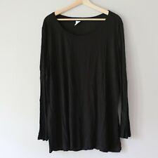 STAR VIXEN Women's PLUS SIZE 2X Black Long Sleeve Crew Neck Tee Shirt 100% Rayon