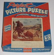 "VTG PERFECT PICTURE PUZZLE JIGSAW EX LARGE BOX ""HORNING IN"" WESTERN COWBOY -1"